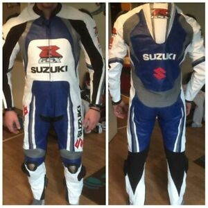 SUZUKI GSXR Motorbike Leather Suit Mens Motorcycle Biker Leather Jacket Trouser