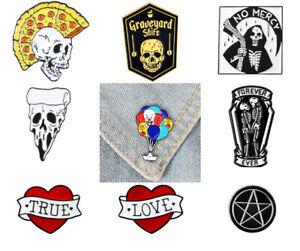 Brooch Punk Pin Badge Tattoo Gift Emo Alternative Horror Rebel Rock Goth Skull