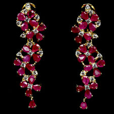 NATURAL PINK RUBY & WHITE CZ STERLING 925 SILVER EARRINGS