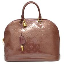 Authentic Louis Vuitton Monogram Vernis Satchel Hand Bag Purse Alma GM Violet