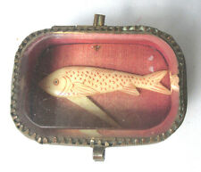 PALAIS ROYAL Jewelry Box w/ SWORDFISH TOOTHPICK c1800 original ANTIQUE  French