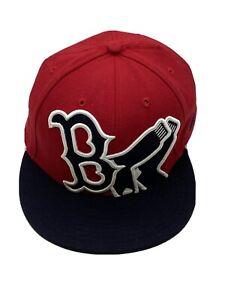 Boston Red Sox MLB Baseball Hat Cap Fitted 7 3/8 New Era Red Navy B Socks 59Fift