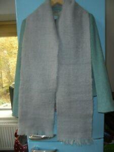 "Unworn. Grey Pure Wool Open Weave Scarf Made In Gt Britain. 8 1/2"" x 74"". Unisex"
