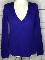 Ann Taylor size medium sweater 100% cashmere v neck purple long sleeve