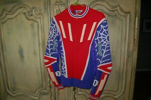 Spyder ski racing vintage padded sweater Snow Winter Olympic Red/Blue Med Nice!!