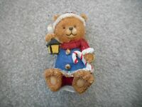 "Resin Christmas Teddy Bear Decoration Figurine Sitting 4"" Tall"