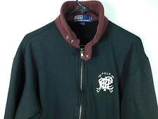 Vtg Ralph Lauren Polo Men's Small Full Zip Sweater Big Logo Black & Burgundy