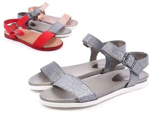 Pewter Color Open Toe Slingback Ankle Buckle Closure Womens Sandals Size 5.5