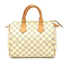 Authentic Louis Vuitton Speedy 25 Mini Boston Hand Bag Damier Azur White Gray LV
