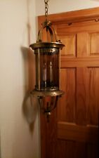 LARGE 36 VINTAGE HALL LANTERN CHANDELIER PENDANT FOUR LIGHT FIXTURE CURVED GLASS