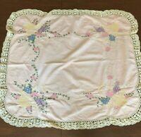 Vtg Pink Hand Embroidered Tea Tablecloth Crochet Edge Flower Basket Design 34x39