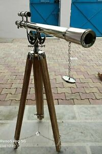 Antique Nautical Floor Standing Brass Telescope With Wooden Tripod Stand 64 Inch