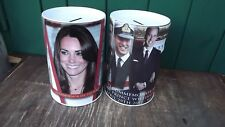 2011 Wedding of Prince William 2 Large tin money boxes with removable lids