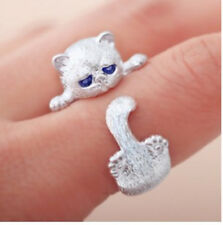 Ladys Anti Silver Animal Cat Ring Adjustable Ring Blue Eyes Accessories Smart