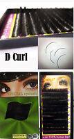 D Curl 100% Human Hair Individual False Extension Eyelashes Lash Black 12MM