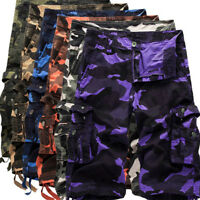 Men's Casual Army Camo Pockets Short Pants Trousers Military Combat Cargo Shorts