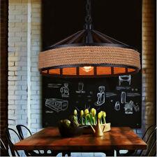 Retro Light Pendant Lamp Ceiling Fixtures Iron Hemp Rope Light Decor Chandeliers