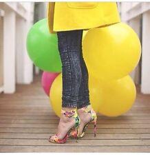 Steve Madden Floral Marlenee Stiletto Heels OpenToe Womens 8.5 Green Yellow Pink