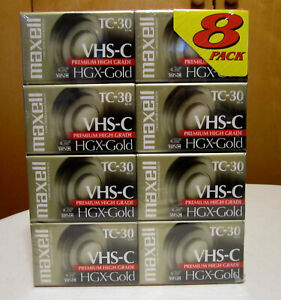 8 Maxell TC-30 VHS-C Premium Hugh Grade HGX-GOLD