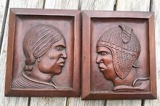 Famous artist ARIAS 2 Carved Wood Aymara Indians Panels Mexican Bolivian c1930s