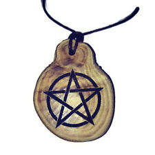 PENTAGRAM  Pagan Celtic  Necklace Wooden Charm Handmade Engraved Wiccan Pendant