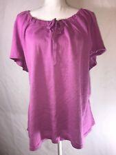 Avenue Purple Pink Tie-front Cap Sleeve Light Weight Sweater Sz 26/28 Plus Size
