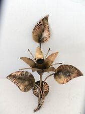 Applique da parete IN FERRO BATTUTO a giglio con foglie ad 1 luce