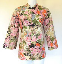 Vintage 1960s 70s Teddi Of California Quilted Floral Night Jacket Size 10 Frogs