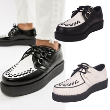 Mens Creepers Black White Retro Teddy Shoes Casual Leather Retro Sneakers Size