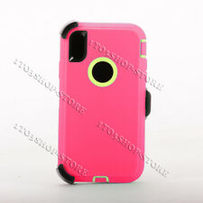 Defender iPhone Xs Max Case w/Holster Belt Clip Fit Otterbox Hot Pink Lime Green