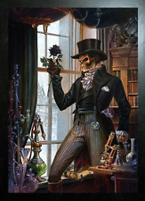 ALCHEMY BLACK FRAMED SKELETON WITH BLACK ROSE (FAREWELL) - 3D PICTURE 365x465mm