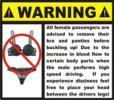 Funny Warning dashboard Gag gift car decal stocking stuffer bumper sticker NEW