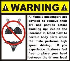 Funny Warning dashboard Gag gift car decal stocking stuffer bumper sticker NEW