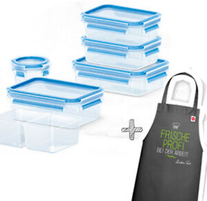Emsa Clip & Close 3D Storage Jar Fresh Seal Container Set 6tlg + Cook's Apron
