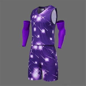 Mens Basketball Outfit 2-Piece Set Jersey Shorts Sweatsuit Training Fitness Sets
