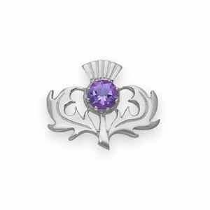 Ortak Jewellery Thistle Sterling Silver Brooch CB33 Amethyst