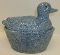 Vintage Sponged Pottery Duck on Nest Lidded Dish
