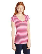 Derek Heart Womens Juniors V-Neck Mini Stripe Tee T-shirt Pink Medium 7-9