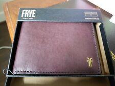 Frye Metal Logo Leather Bifold Men's Wallet NEW in gift box