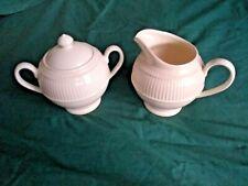 Wedgwood Windsor Creamer and Sugar Set Bowl / Lid / Jug VGC HTF White England UK