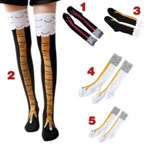 Fashion Women Print Chicken Foot Claw Socks Leg High/Knee Length Stockings