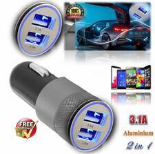 3.1A Dual USB Car Charger Alloy 2 Port Universal Charging For Samsung iPhone HTC