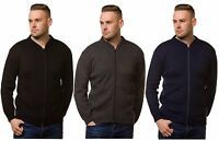 Men's Knitted Plain Zip Cardigans Tops Jumpers Navy Black Charcoal Size S to XL