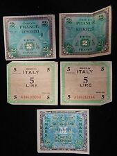 5 PC France, Italy, Germany Military Currency Lot