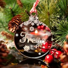 Personalised Christmas Tree Decoration. Engraved Childs Name Bauble Gift, Mirror