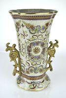 """Porcelain Double Bronze Handle Gold Trim Heavy Decorative Floral Vase 12"""""""