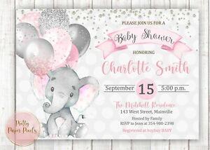 Elephant Girl Baby Shower Invitation, Elephant, Girl, Pink, Silver, Grey, Baby