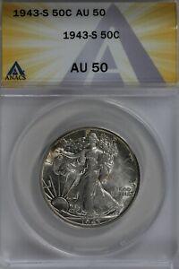 1943-S   50C ANACS   AU50   Walking Liberty, Lady Liberty Half, 0.50