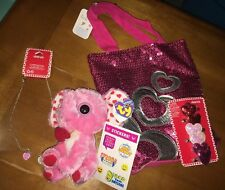 Claire's Valentines Bag Hair Clips Necklace Ty Elephant Plush Justice Stickers