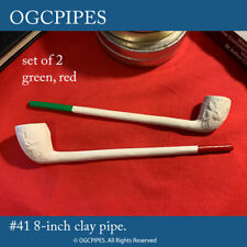 """New listing Two 8"""" Clay Tobacco Pipes With Varnished Tips [Green And Red] #41green-red"""